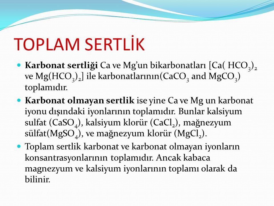 TOPLAM SERTLİK Karbonat sertliği Ca ve Mg'un bikarbonatları [Ca( HCO3)2 ve Mg(HCO3)2] ile karbonatlarının(CaCO3 and MgCO3) toplamıdır.